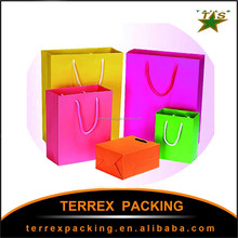 2015 Classic popular candy color rope shopping paper packing bags/birthday gift bags