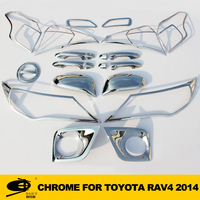 Complete Full Set of Exterior Chrome accessories with 3M Tape fitsTOYOTA RAV4 2014 chrome car accessories