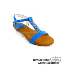 2015 hot selling cheap small wedge T-strap ankle strap girl summer latest chinese sandal