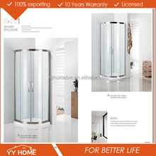 China supplier YY HOME 5-10mm Tempered Glass hinged Bathroom Sliding Shower screen