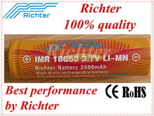 Wholesale alibaba lithium ion battery 18650 Richter brand IMR18650 2500mAh 3.7V 36A rechargeable battery