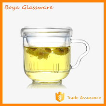 Ear Handle Single Wall Borosilicate Glass Cup With Glass Lid