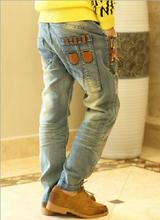 2015 otoño y primavera bordado estrella roja boy jeans moda y simple pantalones rayo toallas versión coreana pantalones venta al por mayor
