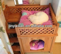 Indoor Wooden Cat House with Balcony & Ladder