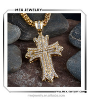 Men's large gold tone rhinestone cuban link chain hip hop cross necklace pendant