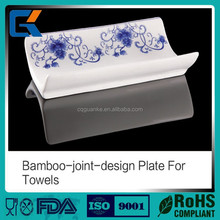 Hot sales and beautiful design dinnerware bamboo-joint -design ceramic towel dish