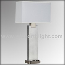 UL Approved Power Outlets Hotel Table Lamps With Switch And Fabric Shade T20310