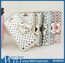 For iPhone 5S 5 Stand Leather Cover, Ice Silk Stone Crystal Leather Mobile Phone Case Products For Samsung