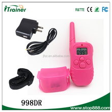 New Pink dog training collar Rechargable LCD Remote Control Dog Training Shock Collar with 100 Level Shock and Vibration