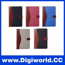 Stand Flip Case For iPad Mini 4 With Cowboy Denim Contrast Color PU Leather Wallet Card