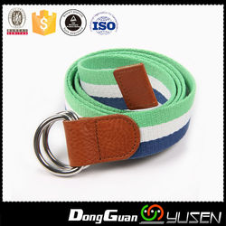 New Design secondary colors stainless Double Ring Belt with smooth stitching