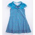 Été gros occasionnel bleu dot design nouveau modèle robes pour les filles