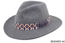 Mix grey color 100% wool felt women fedora with wide brim hats with charming trimband