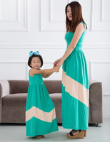 2015 mother and child dress giggle moon remake mother and child chevron baby girls long dress mother and kids dress