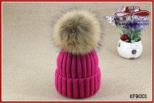 Women Winter Wool Hat Faux Rabbit Fur Ball Crochet Beanie Hat