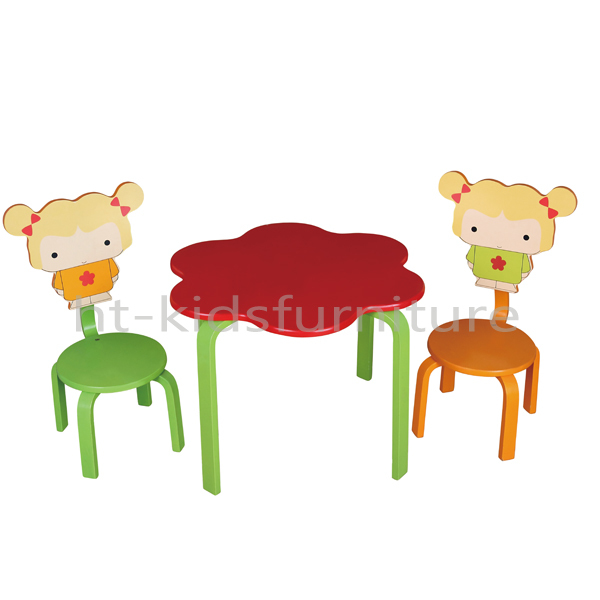 Pastel hout eenvoudige montage vier bijpassende kinderen houten tafel en stoelen stevige - Houten tafel en stoel ...