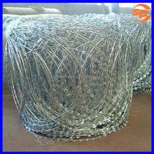 center gradient BTO-10 hot dip galvanized concertina razor barb wire/barb wire for wet regions