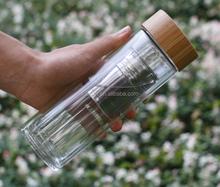 small tea infuser water filter drinking water sport glass bottle 400ml