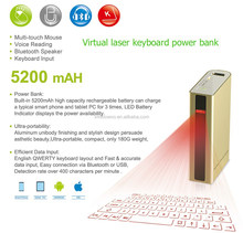 2015 new laser keyboard with 5200 mAh Power bank mouse bluetooth speaker function for iPad ,tablet pc ,smartphone