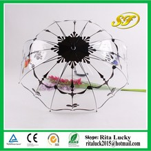 J handle flower designed plastic rain straight umbrella