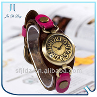 The new retro two colors pure leather ladies watch promotional gift watch