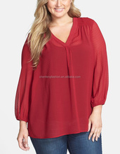 CHEFON Elasticized cuffed sleeve v neck textured chiffon fabric blouses for fat women
