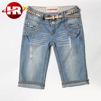 wholesale 2016 fashion new design summer ripped short jeans half pants for women/men
