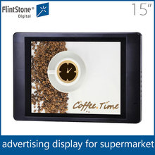 "flintstone 15inch retail stores lcd display monitor, tempered glass advertising equipment, 15"" commercial use lcd video player"