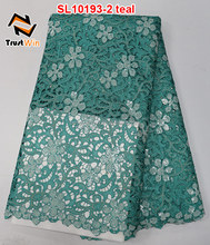teal guipure cord lace african lace with seuqins and stone sl10193