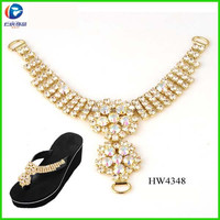 Y shape design crystal rhinestone chain shoes accessories for sandal