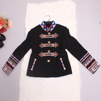 Top Grade New 2015 Luxury Designer Fashion Women Vintage National Embroidery Single Breasted Casual Jacket Coat Female Outerwear