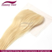 [Henrayhair] 2015 Beautiful 613 color Blonde lace closure with three part way ,virgin hair v part lace closure