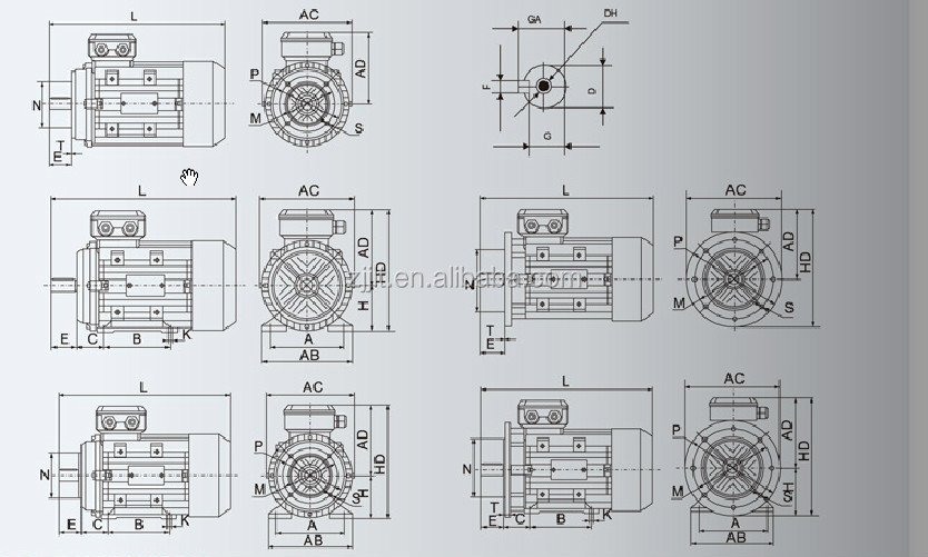 Ms80 0 75kw 1hp 2800rpm 3phase Ac Induction Motor  View