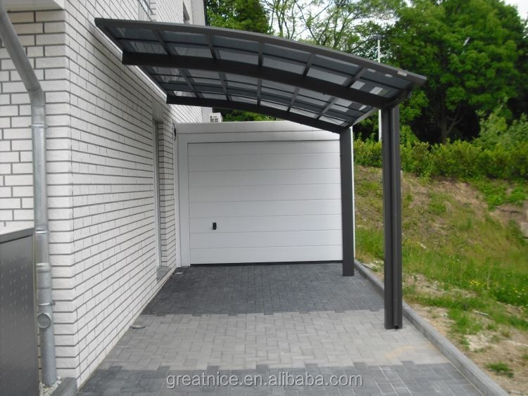 Attached wall aluminum carport garage with polycarbonate for Carport with attached workshop