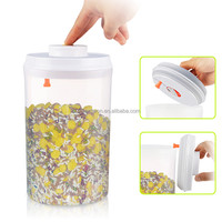 2L one button open and lock white with pendant lid plastic airtight food storage container