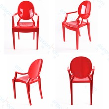 Funky solid plastic louis ghost chair with arms