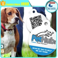Enabled QR Code Smart Round NFC Enabled Tag w. Ring. Pet Tag