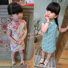 Wholesale manufacturers Children's summer new national wind retro cheongsam dress wholesale children's clothing
