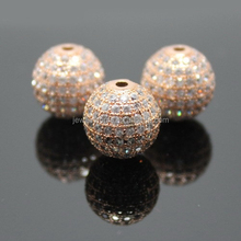 Rose Gold Micro Pave Beads Rose Gold Filled