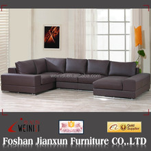 F027 Modern design chocolate leather chaise lounge