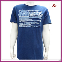 100%cotton indigo jersey men t-shirt,with patch embroidery on front t-shirt for men