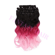 Best selling in 2015 wavy synthetic ombre color clip in hair extension factory directly supply