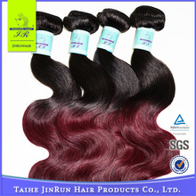 Brazilian Hair good looking 1B99J red and black 100% Virgin remy hair extension for 100% human hair bulk extension