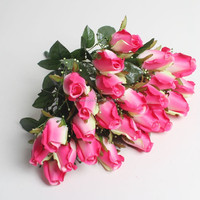 Cheap wholesale artificial flower pink rose buds made in guangzhou qihao