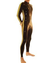 100% Handmade nature latex catsuit for men full body stripes latex leotard for adult plus size