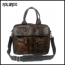 Wholesale genuine leather men branded handbags high quality tote bag