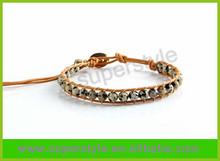Handmade needle of natural quail egg stone bracelet leather leather rope bracelet wholesale