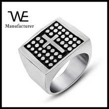 Best Sell Stainless Steel Polka Dot Cross Fashion Men's Jewelry Seal Stamp Ring Steel