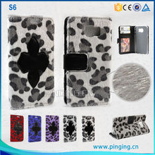 Newest style leopard fur leather case for samsung galaxy s6 flip stand cover case for samsung galaxy s6