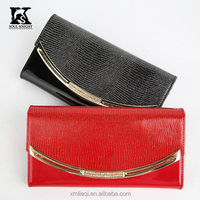 SK-6035 classic tri-folder lady leather wallets evening handbag for party